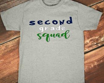Second Grade Squad, 2nd Grade Teacher, Teacher Team Shirt, Teacher Shirt, Teacher Gift, First Day of School, 2nd Grade Team
