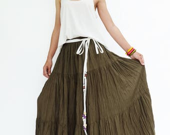 NO.25 Olive Cotton Gauze, Hippie Gypsy Boho Tiered Long Peasant Skirt, Maxi Skirt