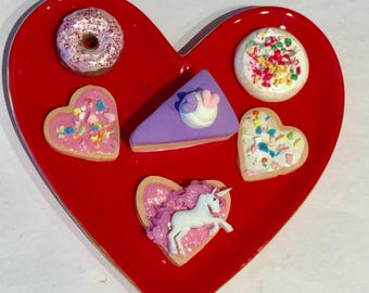 Valentines fake cookies,American girl food, resin teacups, pretend food, toys, play food, American girl accessories,doll cookies,18 inch