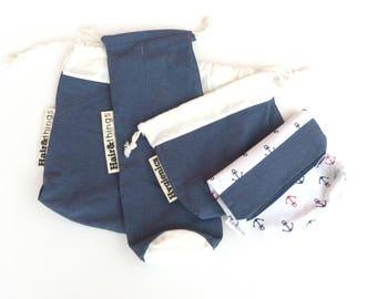 Hair set of 4 bags, hair dryer bag, hair straightner bag, sanitary bag, cosmetic bag