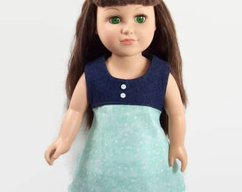 18 Inch Doll Clothes - Trendy Denim and Mint Green Dress