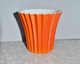 Orange Vitrock Planter ~ Vintage Ribbed Planter ~ Anchor Hocking Glass ~ Epsteam