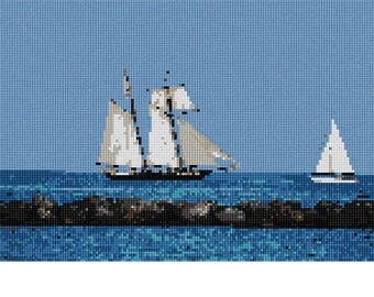 Needlepoint Kit or Canvas: Sailing