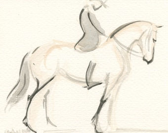 "Horse Art, Painting,Original Watercolor by Anna Noelle Rockwell, ""The Salute"""
