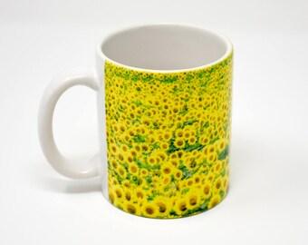 Coffee Mug, Field of Sunflowers Design, Photograph, Artistic, Yellow, green,