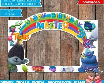 Trolls Birthday Photo Booth Frame LANDSCAPE Digital, Photo Prop Boy Colors Digital Download