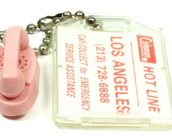 Miniature 1950's Pink Princess Phone Keychain Coleman Los Angeles ID Tag
