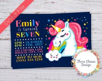Unicorn Printable Birthday Invitation - Unicorn Party Invite
