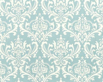 "Village Blue & Natural Traditions Damask Fabric Remnant 20"" x 50"""