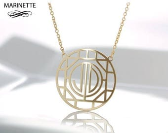 Art Deco style monogram necklace
