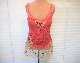 Embroidered pink crochet sweater camisole, summer tank, lace upcycled top, boho chic tunic, gypsy cowgirl glam, bohemian, size medium