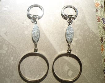 2 Silverplated Eisenhower Morgan Liberty Dollar Key Chains