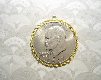 4 Goldplated Eisenhower Dollar Morgan Dollar Liberty Dollar Coin Holder Bezel Pendant