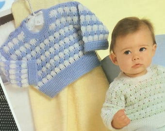 "UK/EU SELLER Vintage pdf Crochet Pattern, Experienced Crocheter Level Easy, Baby two-tone sweater Buttoned Shoulder. Chest 16-20"" (40-50cms)"