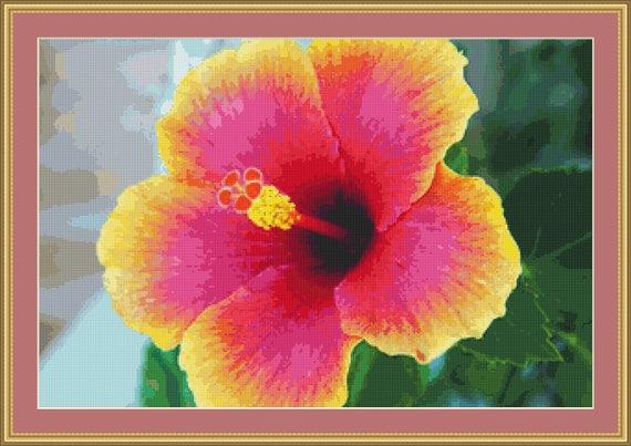 Hibiscus Flower Cross Stitch Pattern /Digital PDF Files /Instant downloadable