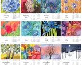 Gift Printable 2018 Watercolor Flowers & Trees Desktop Desk Calendar PDF