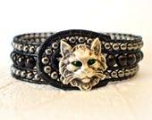 RESERVED FOR ANASTACIA Boho Cat Bracelet, Cat Bracelet, Beaded Cat Cuff, Cat Jewelry, Cat Lover Gift, Beaded Cat Cuff, Cat