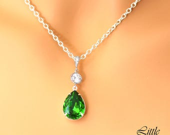 Green Necklace Shamrock Green Jewelry Bright Green Necklace Fern Green Swarovski Necklace Bridesmaid Gift Teardrop Pendant Necklace FG31N