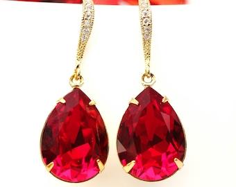 Red Gold Earrings Dark Red Earrings Deep Red Earrings Crimson Earrings Bridesmaids Earrings Sparkly Wedding Earrings SI31H
