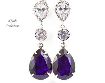 Purple Earrings Swarovski Earrings Bridesmaid Earrings Dark Purple Earrings Purple Velvet Crystal Deep Purple Earrings Eggplant Plum PV31PC