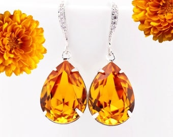 Topaz Earrings Amber Earrings Swarovski Pear Crystal Teardrop Earrings Dark Yellow Sterling Silver Rhodium Plated Bridesmaid Earrings TO31H