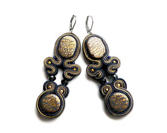 Earrings-Soutache Jewelry-Dark Smoke