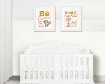 BEAUTIFUL Nursery Baby BOHO Tribal Wall Art, Pink Girl Nursery Boho Fox Wall Art, Watercolor, Be Beautiful, Instant Download