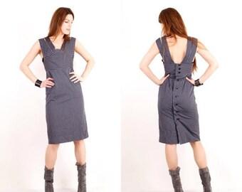 SALE Vintage Grey Dress / Striped Dress / Sleeveless Dress / Medium Dress / Midi Dress / Day Dress / Official Dress /Gray Dress / Button Up