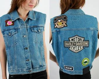 Harley Davidson Denim Vest / Motorcycle Vest / Moto Vets / Biker Vest / Man Denim Vest / 80s Denim Vest / Davidson Vest / Harley Vest