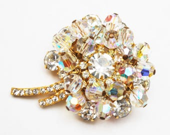 Juliana  Flower Brooch - dangling  Ice clear Crystal Rhinestone - D and E confirmed pin