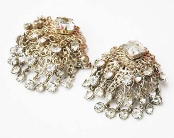 Chandelier  Earring - Domed Silver filigree - Dangle Rhinestone - Clip On - Wedding Bride