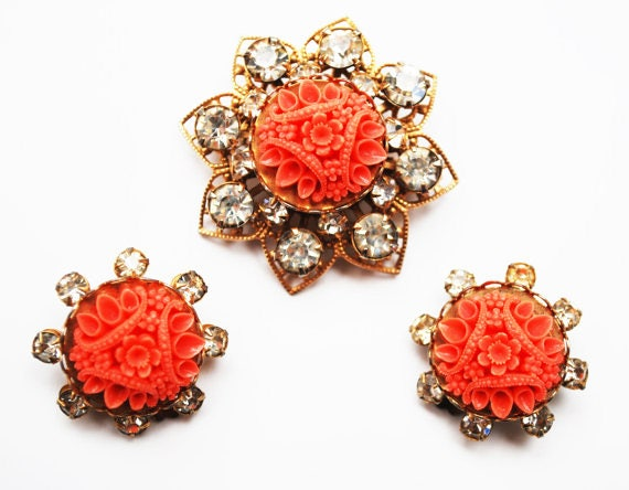 Celluloid  Flower brooch and matching earrings set - Coral molded Celluloid Plastic - Rhinestone - Gold Filigree -