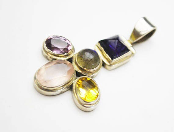 Mixed Gemstone Sterling Pendant - Amethyst - Citrine - Rose Quartz - labradorite - Jewely Craft