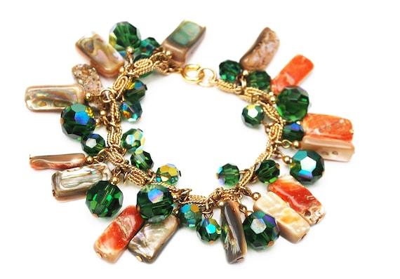 Napier crystal abalone Charm Bracelet - green tourmaline Crystals Charm - Abalone Shell beads   Cha cha bracelet - 1980 Book Piece