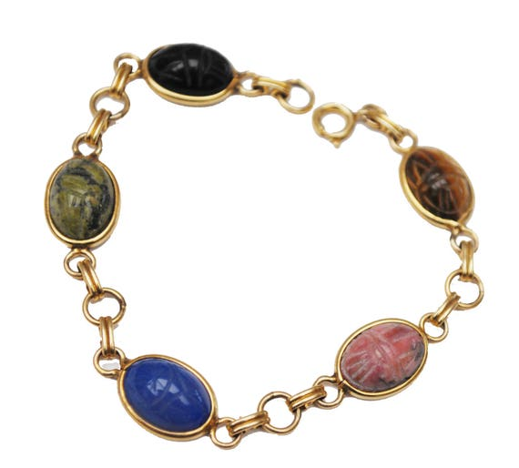 Gemstone Link Scarab Bracelet -12 kt gold Filled -  Egyptian Revival - Beetle - tiger eye -agate -onyx -Jasper