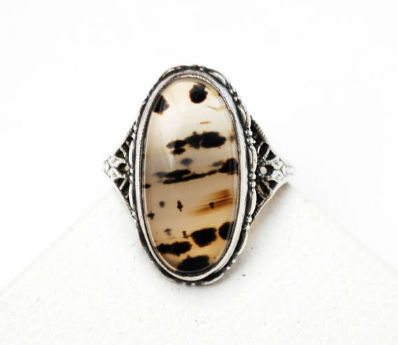 Sterling Banded  Moss agate Ring - silver Filigree  - size 6 1/2