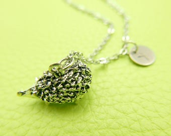 Hedgehog Initial Monogram Necklace Stainless steel chain