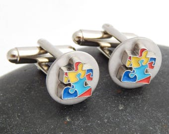Autism Cuff Links Puzzle Piece Autism Cufflinks Christmas Father's Day