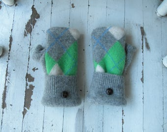 Upcycled Winter Wool Fingerless Sweater Mittens! Bright Green & Gray - Fleece Lined - Repurposed! Eco Fashion
