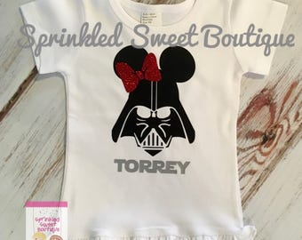Darth Vader Minnie Girls Villain Star Wars Inspired Shirt Women Men Kid Baby Family Perfect for Disney World Matching Family Trip Glitter