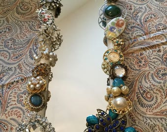 """13"""" x 5""""-Table Top/Wall Mirror-Handmade Embellished Jeweled/Jewelry/Brooch/Earring Wall Hanging Decorative Statement Piece"""