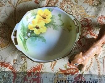Nippon Morimura Handpainted Reticulated Handled Decorative/Madter Nut Dish/Bowl-Yellow Flower