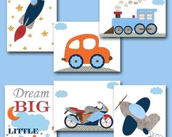 Gray Blue Orange Red Baby Shower Gift Kids Wall Art Kids Art Car Rocket Train Nursery Quotes Baby Boy Nursery Art Baby Room Decor set of 6