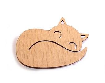 """FOX"" painting, varnishing, burn, decorate wooden brooch!"