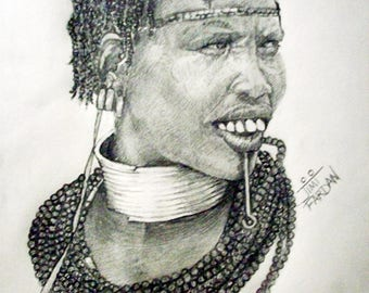 Pencil Drawn Print of the Adorned Beauty African Woman
