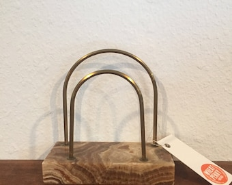 Vintage brass and stone letter holder art deco style
