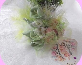 "Bibi fascinator wedding flowers and feathers ""pastel Garden"""
