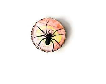 Spider Brooch - Brooch - Spider - Sweater Clip - Spooky Button - Lapel Pin - Enamel Pin - Badge - Punk - Goth - Gothic - Pinback Button