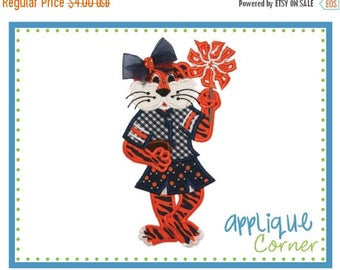 40% OFF 716 Tiger Standing Girl Mascot Football applique digital design for embroidery machine by Applique Corner