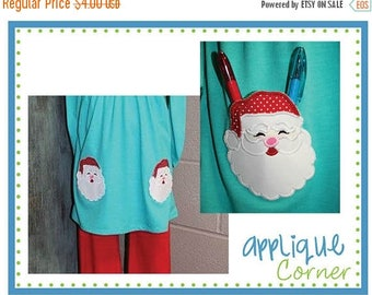 40% OFF INSTANT DOWNLOAD Christmas Santa Pocket applique design in digital format for embroidery machine by Applique Corner